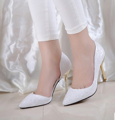 ФОТО Sexy lace high heel pointed toe thin heels small 30 31 32 33 plus size 40 41 42 43 44 single shoes female