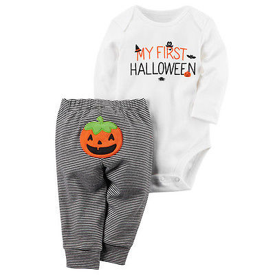 My First Halloween Baby Boy Girsl Clothes Tops Romper+Striped Pants Outfits Set