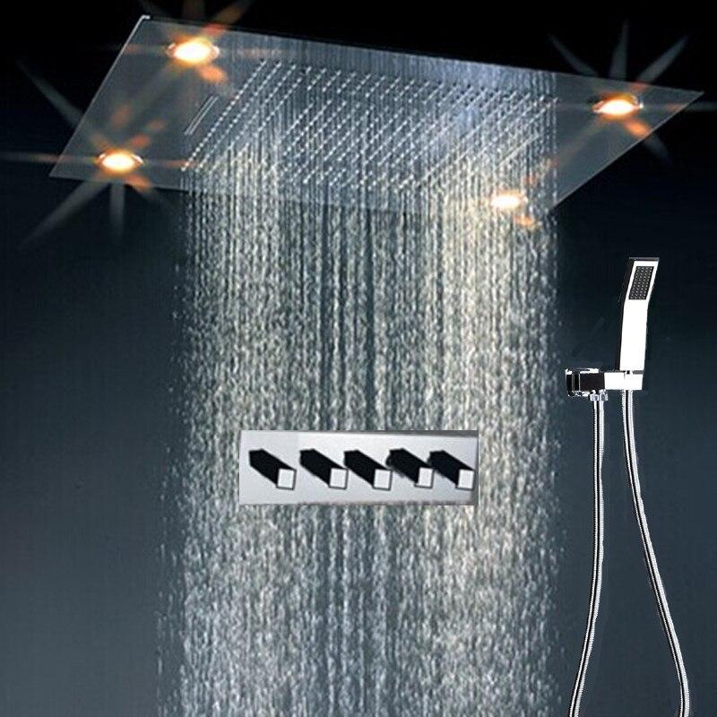 New Design Polished 4 Function Remote Control Color Change Led Shower Head  Set(China (