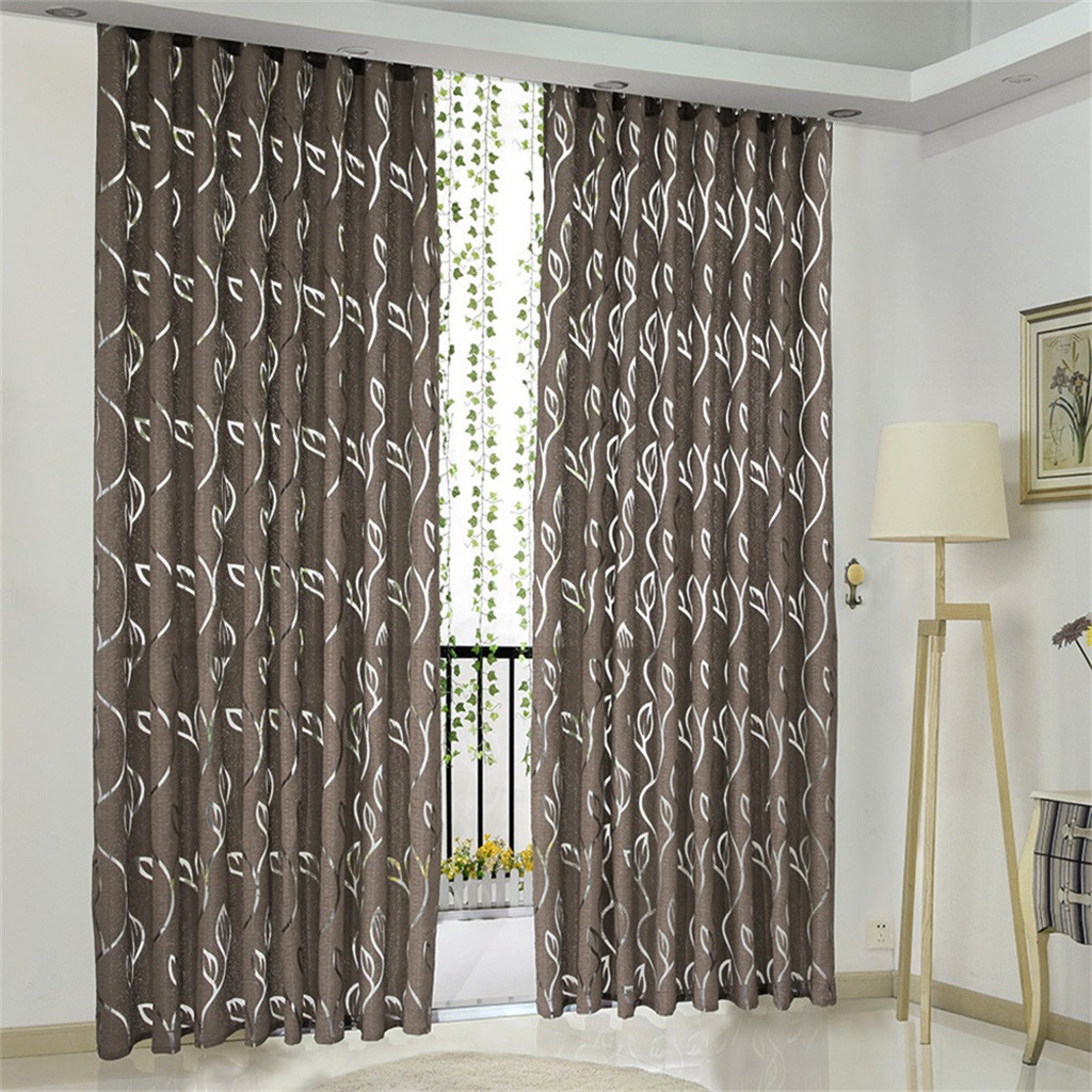 1PCS Vines Leaves Tulle Door Window Curtain Drape Panel Sheer Scarf Valances For Living Room Bedroom Home Office Window Curtain