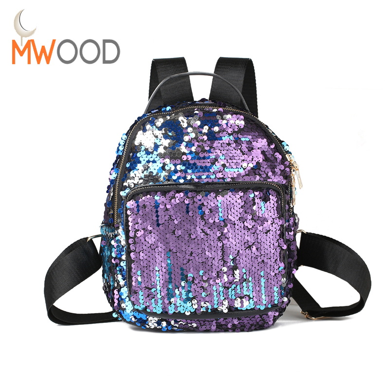 High Quality 2017 Fashion Sequins Backpack Women BlingBling Leisure Travel Bag Student Small Paillette School Bag