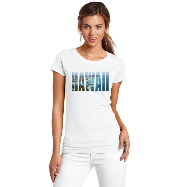 Blanco Más Algodón de Camiseta de Tamaño Cartas Imprimir Diseño 2017 Manga la Mujeres Camiseta Camisas Corta Camiseta Superior de Femenina Hawai Ciudad Las t7zBxI