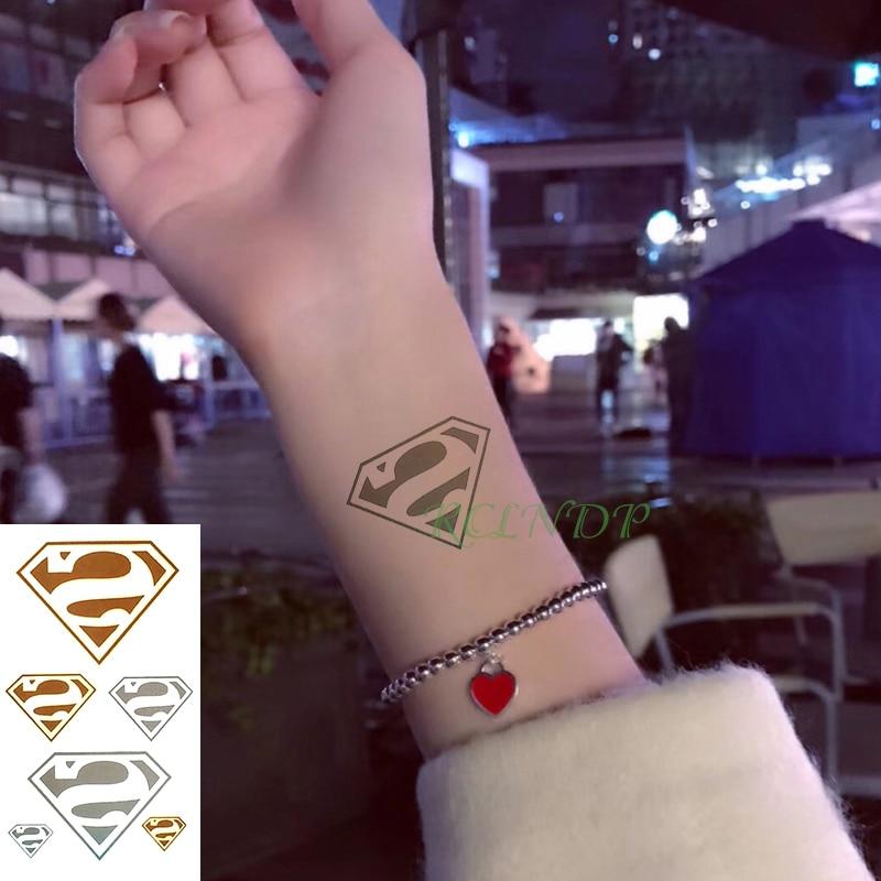 Waterproof Temporary Tattoo Sticker Superman Fake Tatto Flash Tatoo