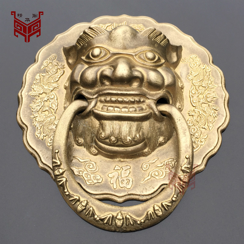 Chinese antique wood door door handle copper lion head wooden door handle Shoutou door knocker evil copper handle chinese antique copper fittings knocker copper handle big lion tiger beast head copper shop first hand ring gate