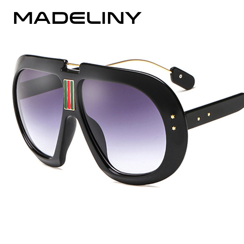 MADELINY Fashion New Oversized Oval Women Sunglasses Brand Designer 2018 Summer Style Classic Sun Glasses Shades UV400 MA043