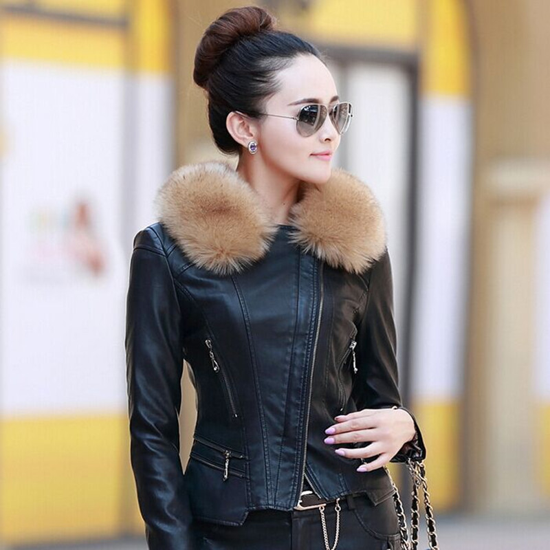 M-5XL Women   Leather   Jacket Winter & Autumn Fashion Fur Collar Zipper Coat Female Motorcycle PU Skin Jacket Outwear