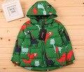 2016  Winter Children Ski Coat Kids Down Jacket Boy Outwear Baby Trench Cartoon Dinosaur Warm Coat Hooded Zipper Top Windbreaker