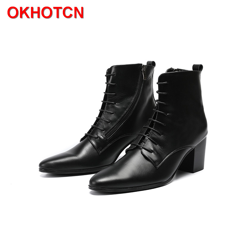 Pointed Toe High Tops Snow Boots Black High Heel Mens Ankle Boots Casual Genuine Leather Men'S Boots Lace UP Cowboy Knight Boots 9 inch display p nair momo9 interstellar version touch screen capacitive screen 300 n3860b a00 page 7