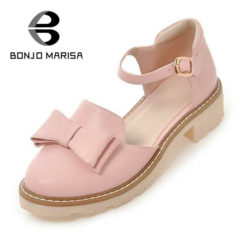 ФОТО BONJOMARISA Cute Bowtie Women Pumps Mary Jane Chunky Heel Round Toe Platform Summer Shoes For Woman School Leisure Footwear