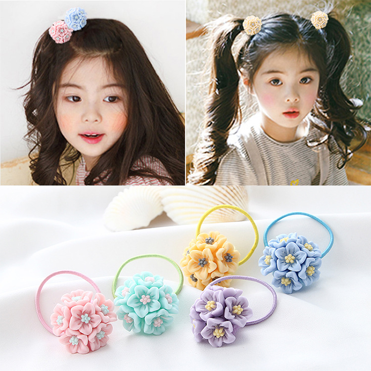 2Pcs Kids Hair Holders Cute Flower Knot Bow Rubber Hair Band Girls Elastic Accessories For Girl Scrunchy Gum Headbands 12pc set elastic hair rubber band children hair unicorn headband kids hair accessories gril hair band set cute unicorn cartoon