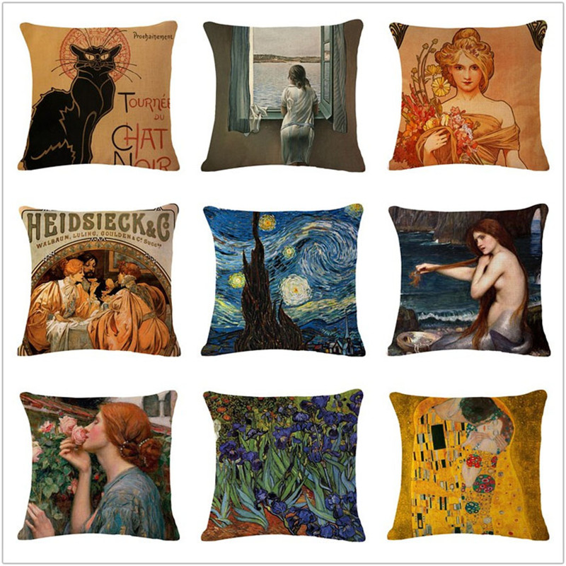 Renaissance World Famous Paint Art Print Cushion Cover Home Decorative Sofa Coffee Car Chair Throw Pillow Case Almofada Cojines image