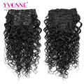 YVONNE Peruvian Real Human Hair Clip in Extensions,7Pcs/set Clip in Curly Hair Extensions,8-28 Inches in Stock,Color 1B
