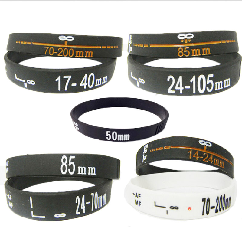 Lens Bracelets Photographer silicone bracelet Wristbands SET 9pcs/Stop Lens Zoom Creep for canon nikon DSLR camera free ship