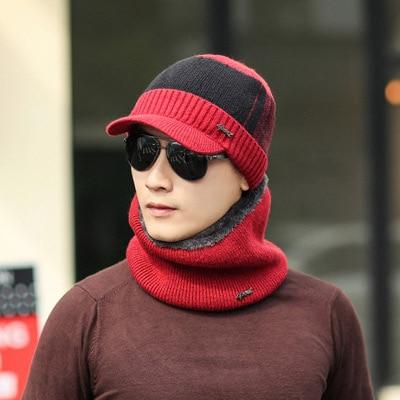 Winter Hats   Skullies     beanies   men Winter Hats For Men Women Wool Scarf Caps Masks Hood Knit Hat sets