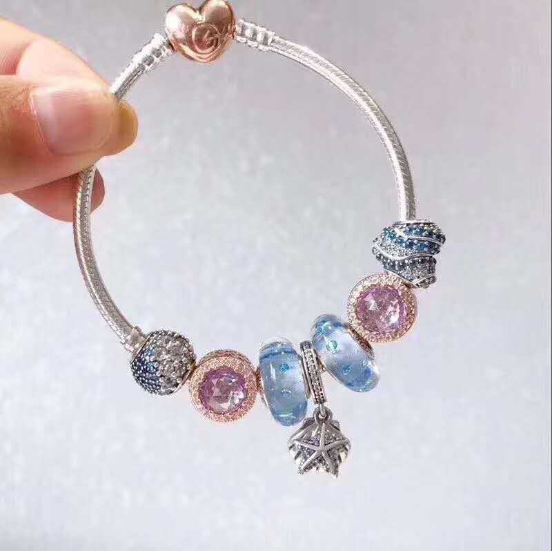 925 Sterling Silver Original Copy 1:1 Fashionable Silver Charms Bracelet Bangle For Womens Crystal Beads Fit Bracelets Jewelry925 Sterling Silver Original Copy 1:1 Fashionable Silver Charms Bracelet Bangle For Womens Crystal Beads Fit Bracelets Jewelry