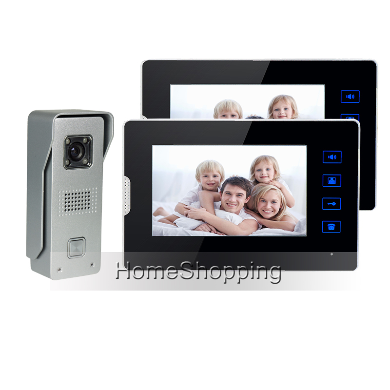 FREE SHIPPING Wired 7 TFT Touch Screen Video Door phone Intercom System + 2 Monitor + 1 Metal Waterproof Door Camera IN STOCK brand new wired 7 inch color video door phone intercom doorbell system 1 monitor 1 waterproof outdoor camera in stock free ship