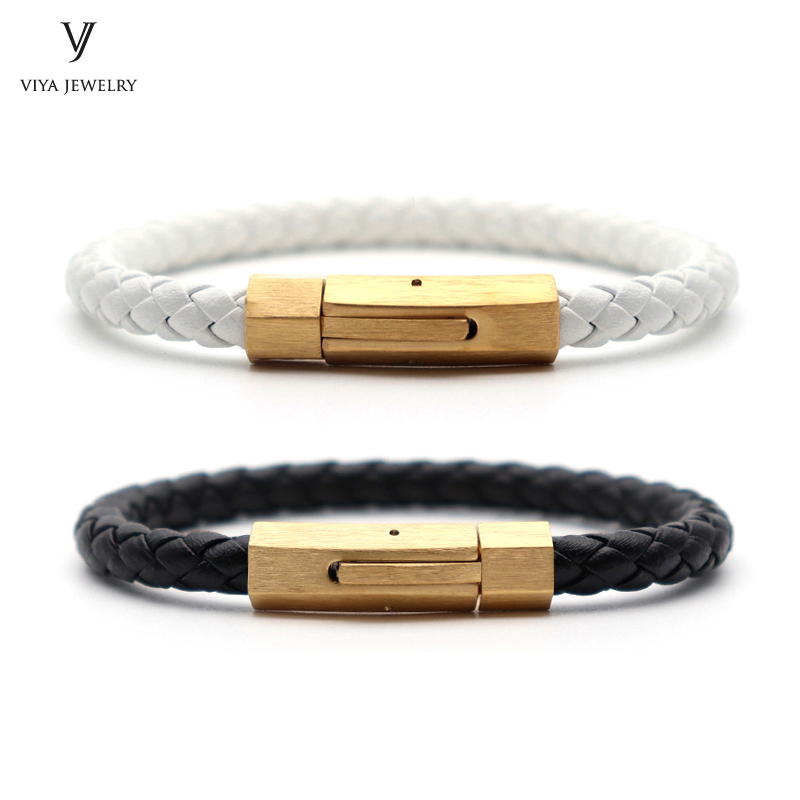 (2 Pcs) Fashion Black & White Leather Spring Clasp Couple Bracelet Charming Spring Clasp Couple Leather Bracelets With Gift Box new arrival stingray leather spring clasp couple bracelet charm men stainless steel snap hook bracelets best gift for lovers
