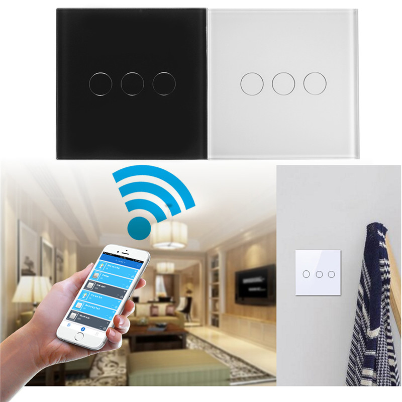3 Gang 1 Way EU UK US Smart Remote Control Wall Light Touch Switch Luxury Crystal Glass Panel For WiFi Amazon Alexa eu uk standard sesoo remote control switch 3 gang 1 way crystal glass switch panel wall light touch switch led blue indicator