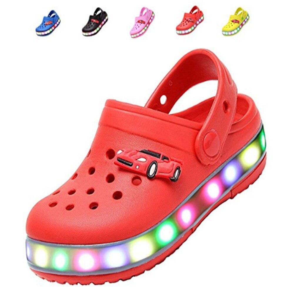 e4eca8bd9f6 LED sabot flash allumé été plage chaussures sandales marche ...