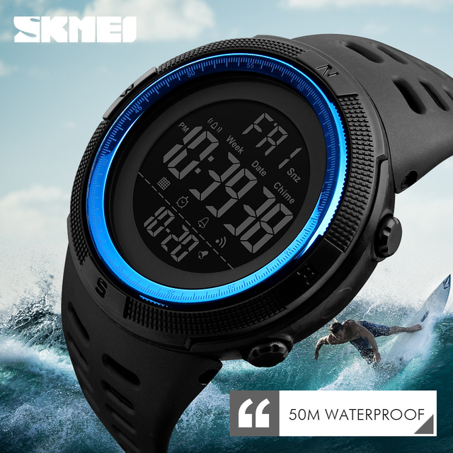 SKMEI 1251 Luxury Brand Mens Watches Dive 50m Digital Sport Watch Men LED Milita