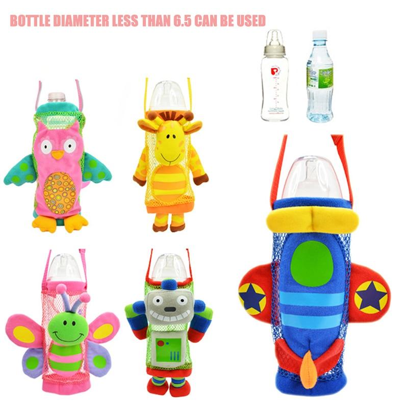 2019 New Baby Kids Cartoon Animal Plush Design Bottle Buddy Bottle Holder Strap Outdoor Bottles Holder  Bag