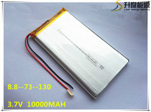 rechargeable lipo battery cell 3.7 V 8873130 10000 mah tablet battery brand tablet gm lithium polymer battery Free shipping
