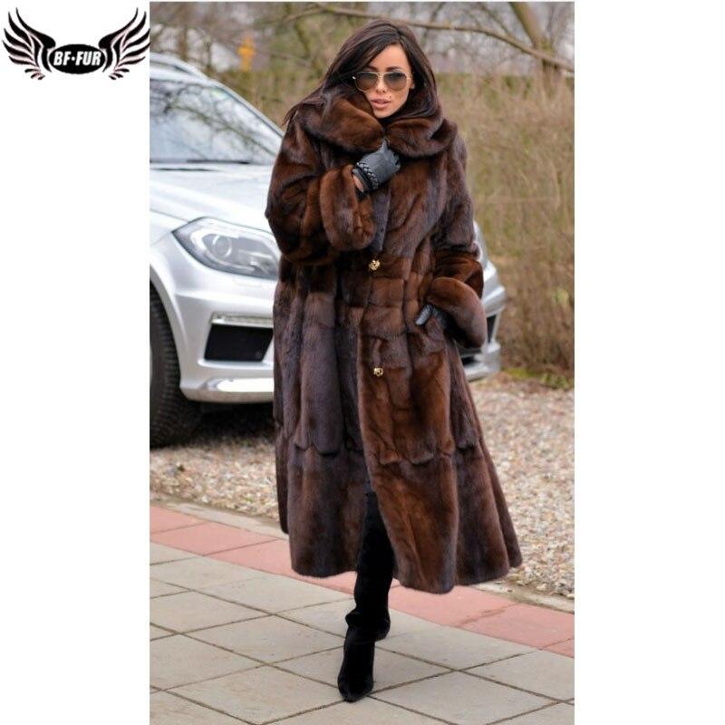 BFFUR Hiver Femme Manteaux 2018 Véritable Manteaux De Fourrure Femmes Fourrure de Vison Real Manteau Plus La Taille Pleine Pelt Turn-down collier De Mode Longue Jupe