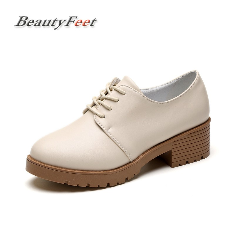 BeautyFeet New Spring Casual Shoes Woman Pu Leather Women Shoes Flats Oxford Lace Up Women's Flat Shoes Moccasins Zapatos Mujer new women canvas shoes casual lace up cute spring candy colors ladies flats white shoes woman free shipping