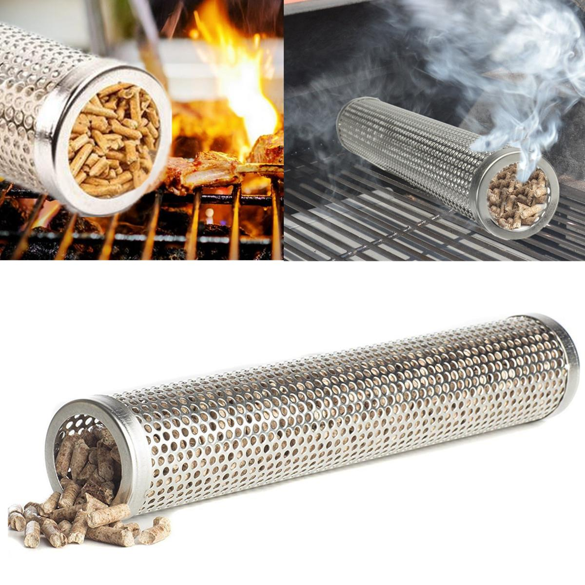 Round BBQ Grill Hot Cold Smoking Mesh Tube Smoke Generator Stainless Steel  Smoker Wood Pellet Kitchen Outdoors Barbecue Supplies On Aliexpress.com |  Alibaba ...