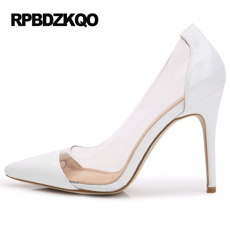 Pumps Pointed Toe Patent Leather 2017 Scarpin Pvc 3 Inch Ladies European Designer Shoes White Size 4 34 Brand High Heels size 4 34 genuine leather office green high heels shoes nude patent scarpin peach ladies yellow pointed toe pumps court designer