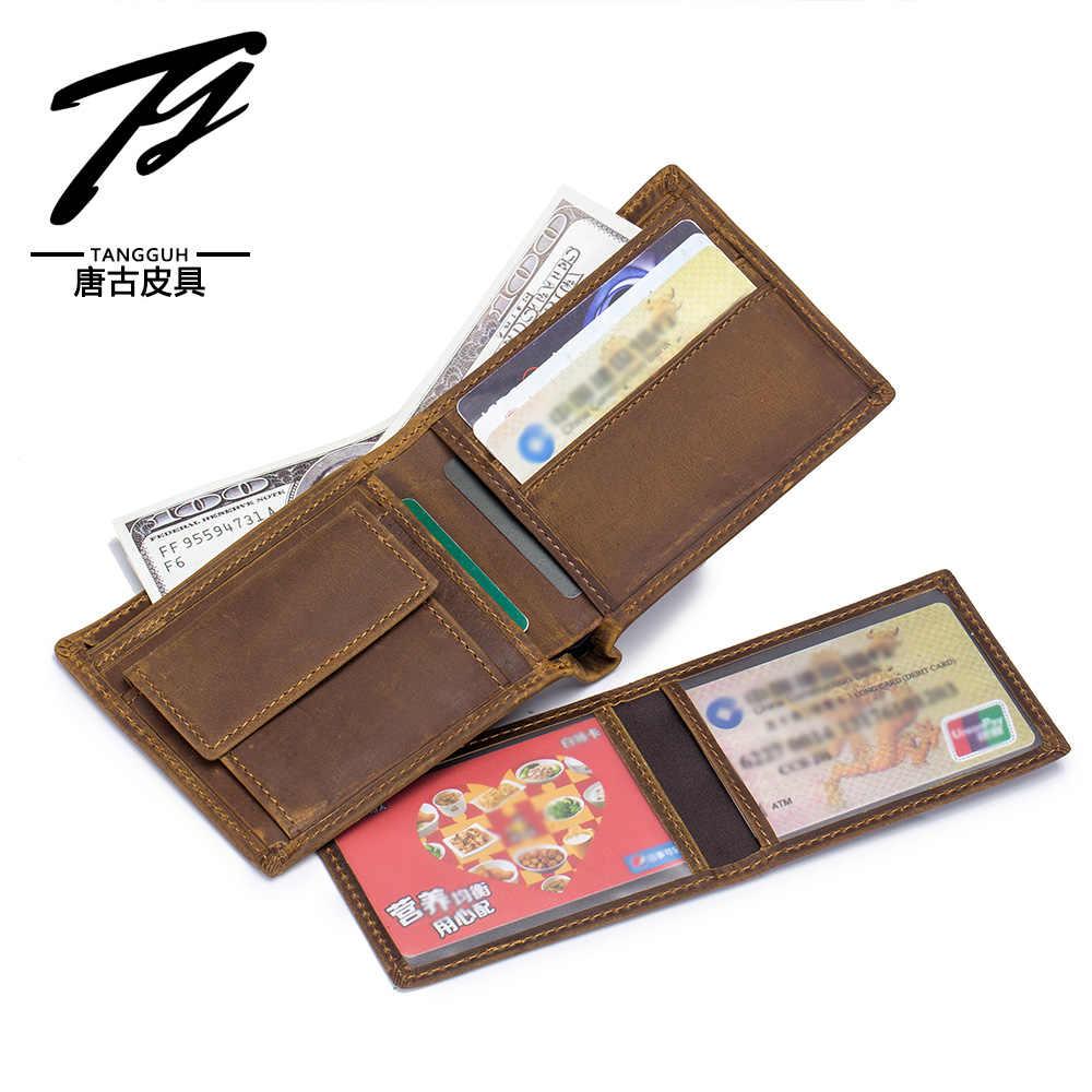Модный мужской бумажник из натуральной кожи, ID для кредитной карты, держатели для карт, мягкий из воловьей кожи, для мужчин бумажник кошелек для денег, коричневый 609
