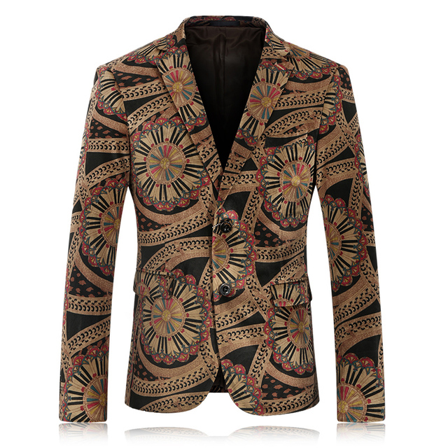 Mens Floral Blazer Slim Fit Velvet Blazers Vintage Prom Suits For Men Single Breasted Casual Jaqueta Masculina Stage Wear Q63