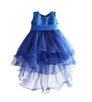 Christmas Dovetail Girls Party Dress Blue Sequined Kids Dresses Cotton Flutty Girls Clothes Vestido Infantil 3