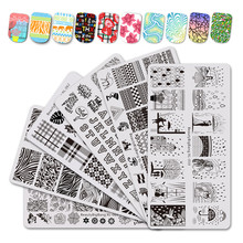 BeautyBigBang 6PCS Stamping For Nails Rain Animal Image Nail Plates Flower Leaf Water Marble Template Art Tools