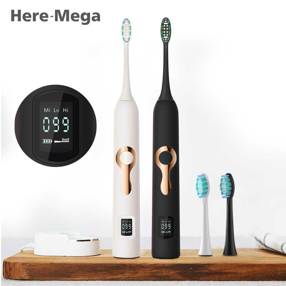 هنا ميجا فرشاة أسنان كهربائية بالموجات الصوتية جدا sonic تبييض الأسنان التلقائي فرشاة أسنان الأسنان العناية بالفم النظافة قابل للغسل LCD 608