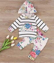 Baby Clothing Sets 2017 Autumn Newborn Baby Boys Girls stripe Cute Hooded Tops+ Pants Legging Outfits Set 2pcs Clothes