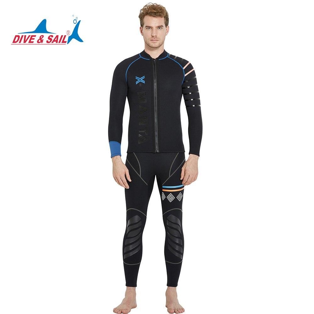 Dive&Sail mens 3mm diving wetsuit jackets pants long sleeve diving suit Scuba Jump Surfing Snorkeling WetsuitsDive&Sail mens 3mm diving wetsuit jackets pants long sleeve diving suit Scuba Jump Surfing Snorkeling Wetsuits