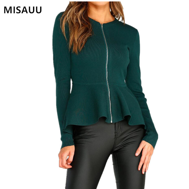 MISAUU Women's Jackets 2018 Autumn Causal Fashion Women Elegant Basic Jackets Coats Zipper Streetwear Jackets Bomber Famale