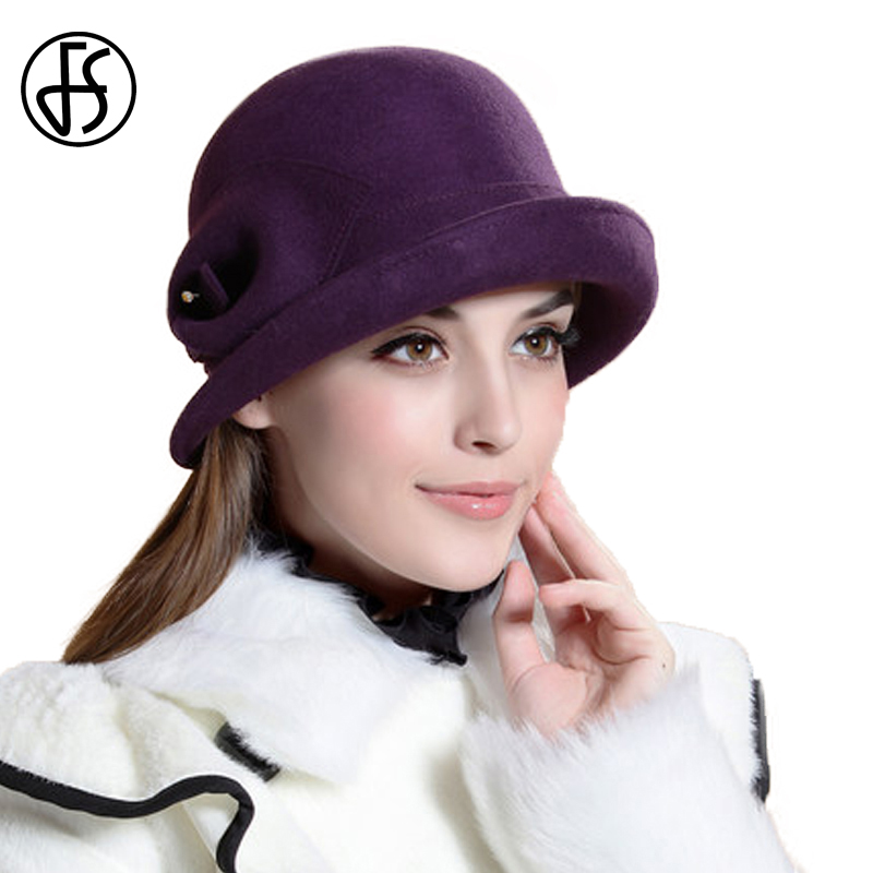 c714f1e8922 FS 100% Wool Felt Cloche Hat Bowler Fedoras Winter Women Vintage Purple  Flower Curl Wide