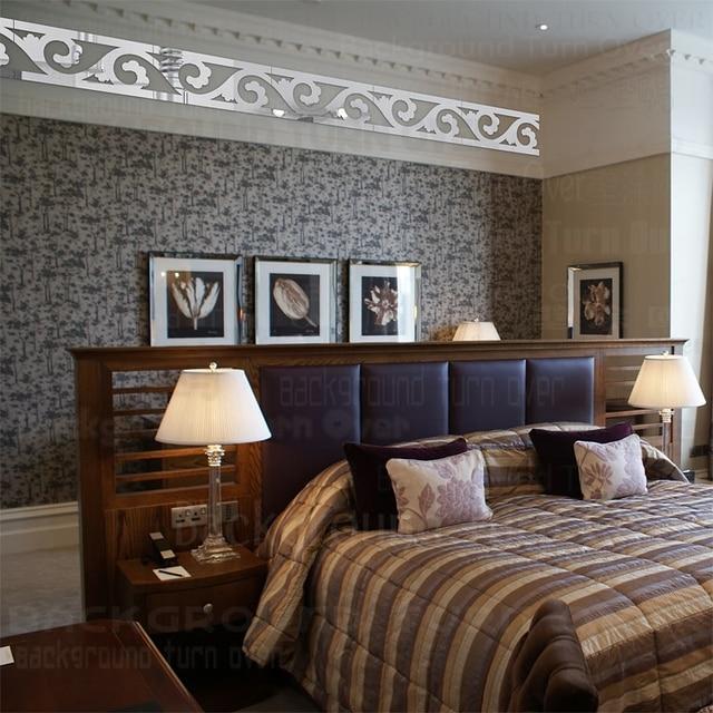 Elegant Scroll Grass Pattern 3d Acrylic Mirror Wall Border Sticker Mural Living  Room Bedroom Waist Line