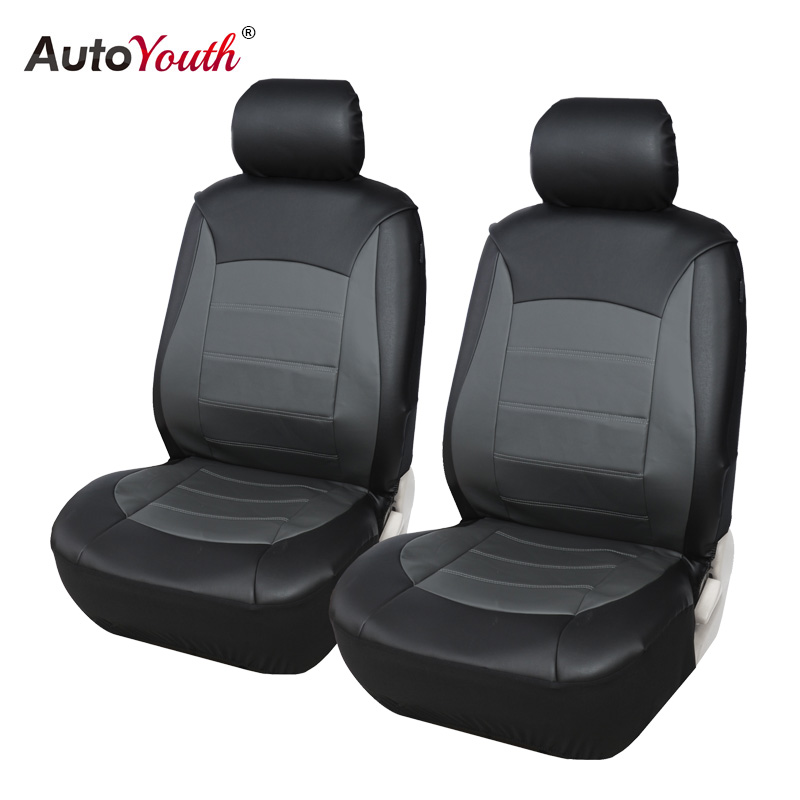 AUTOYOUTH Car Seat Cover PU Leather Front Seat Covers Universal Fit Car Accessories For Seat Protector Black/Gray Car-Styling coverking front 50 50 bucket custom fit seat cover for select chevrolet monte carlo models genuine leather black