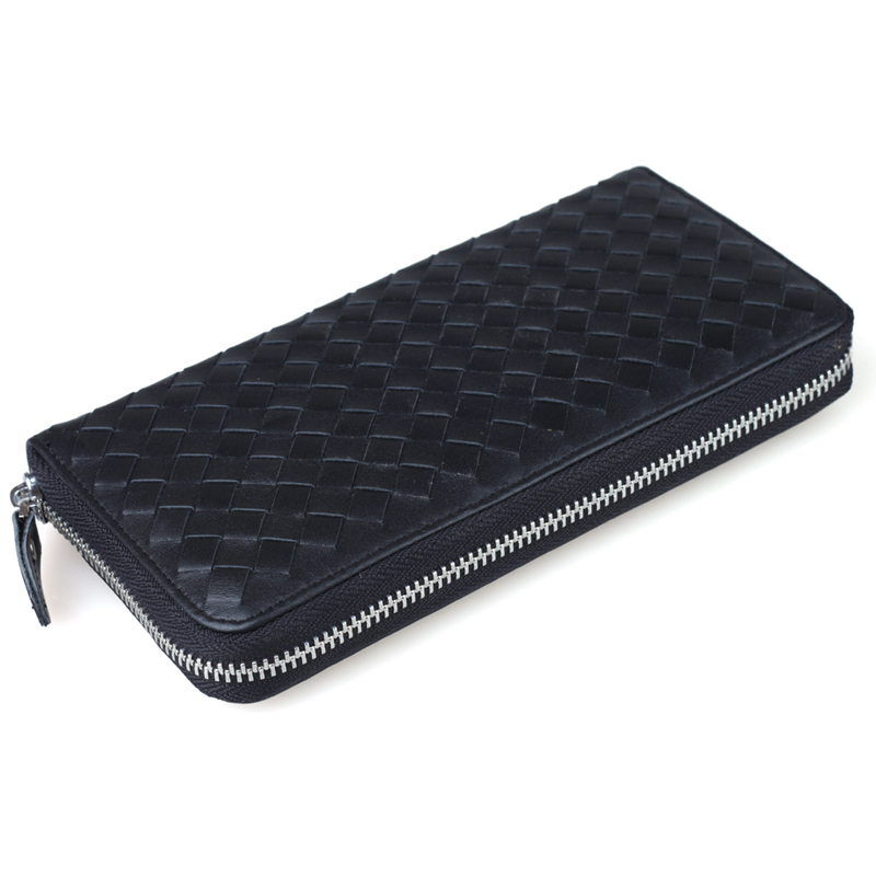TIDING Women clutch handbag hand-woven wallet money holder soft cowhide leather lady purse NEW 4007-2 women hand woven cross design chain long section handbag card wallet purse