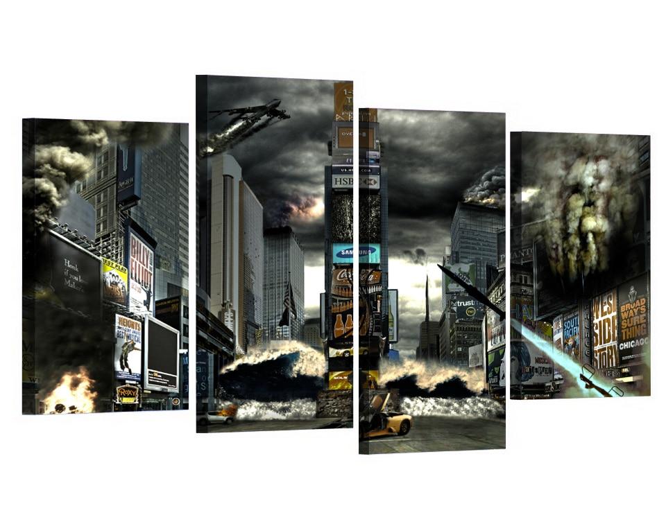 4 Teile/satz Gerahmte HD Gedruckt New York Times Square Katastrophe ...