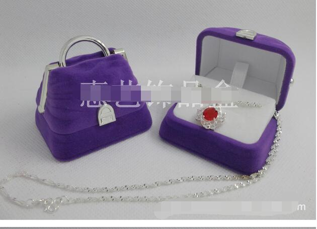 100pcs/lot fedex fast free shipping velvet handbag jewelry box earring ring necklace display box pink purple