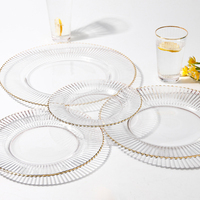 Dinner Plate Glass Plate Sets Tray Wine Glass Cup Platos Dinnerware Set Hotel High class Gilt Stripe Food Tray Dishes Prato 1pcs