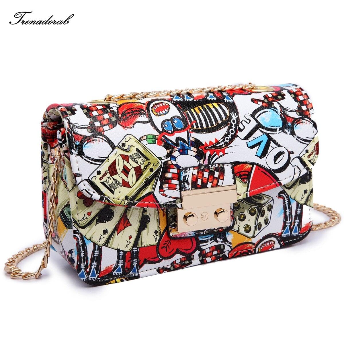 Trenadorab Fashion Women Evening Clutch Summer Graffiti Print Lady Handbags Chain Small Bag Women Clutch Purse Sac A Main Bolsa