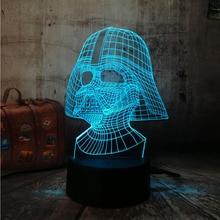 Amroe Star War figure Darth Vader 3D Led 7 color Sleeping Night light Touch senser USB Table Illusion Mood Dimming Lamp lustre