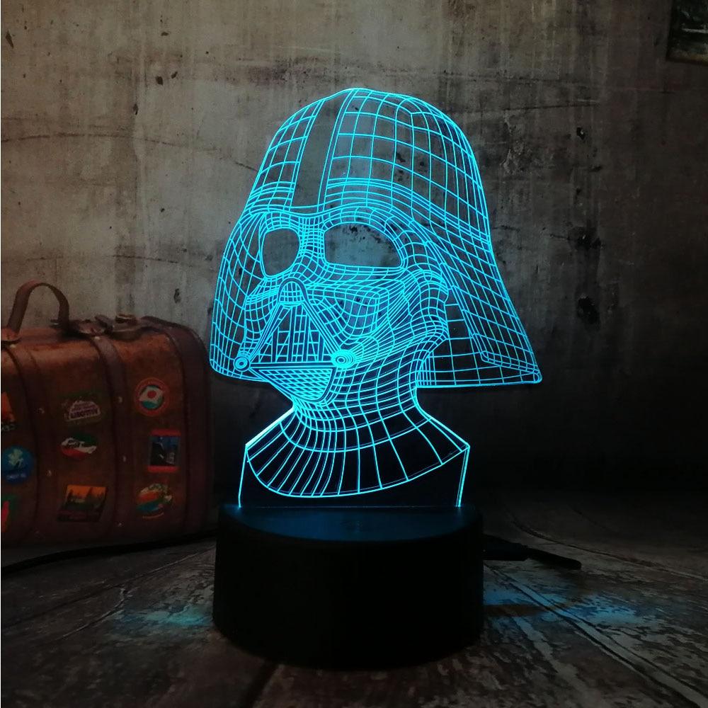 Figura Darth Vader 3D Darth Vader Led 7 colores dormir luz de noche táctil sensor USB ilusión de la Mesa de humor atenuación lámpara lustre