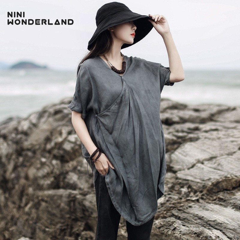 NINI WONDERLAND 2019 Women Cupro And Silk T Shirt Summer V Neck Do Old Vintage Tops Female Irregular Casual T Shirts Big Size