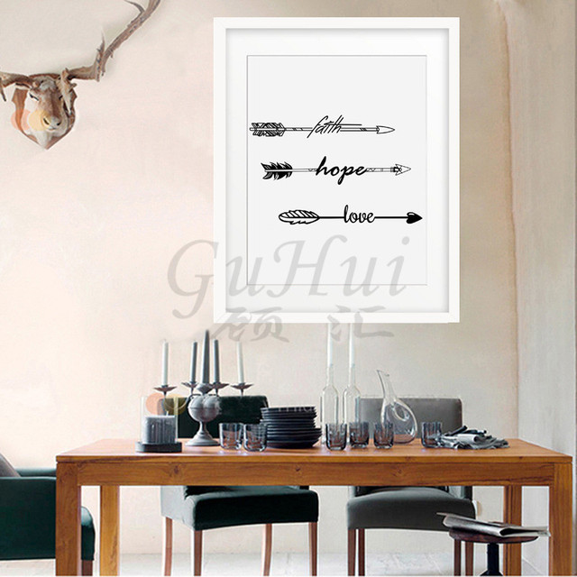 New Nordic Faith Hope Love Life Letter Typography Arrow Wall Poster Art Canvas Painting Frameless Bedroom